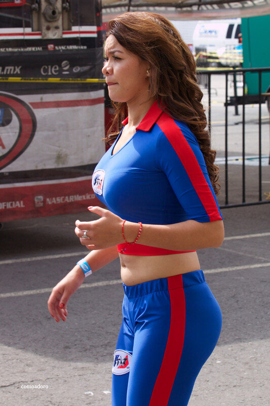 promo lady in kinky spandex outfit