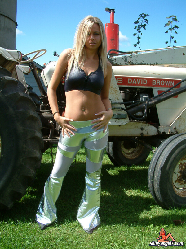 lovely farmer girl in tight shiny pants