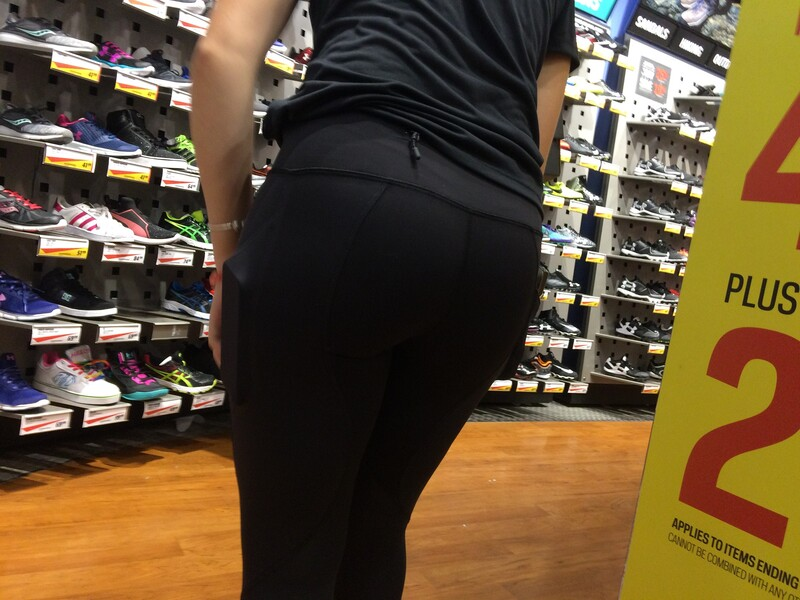 sport store ass in yoga pants