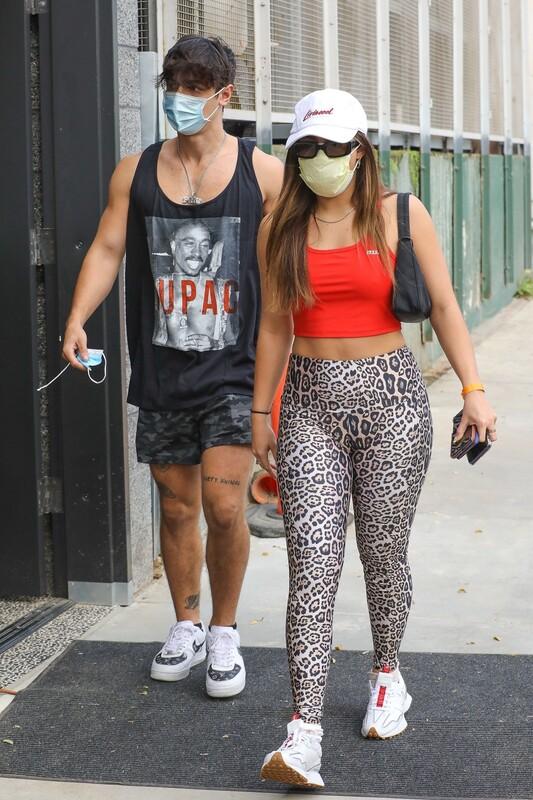 sporty babe Addison Rae in leopard print leggings