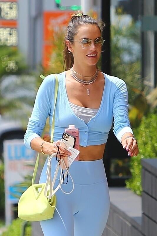awesome milf Alessandra Ambrosio in blue sportwear