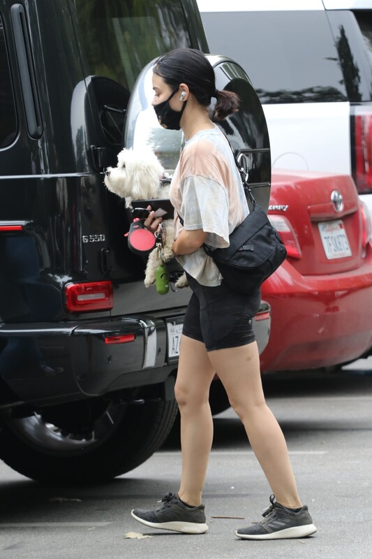 dog walker babe Lucy Hale in candid yogashorts