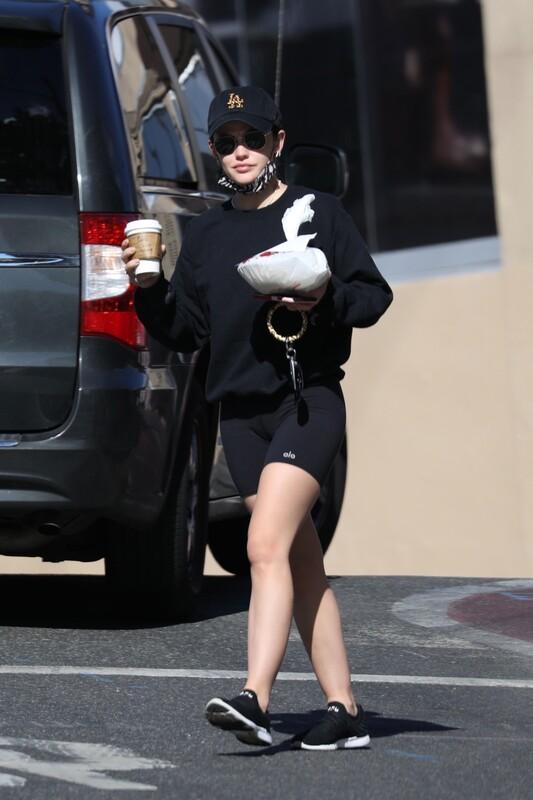 car driver cutie Lucy Hale in leggings & yogashorts