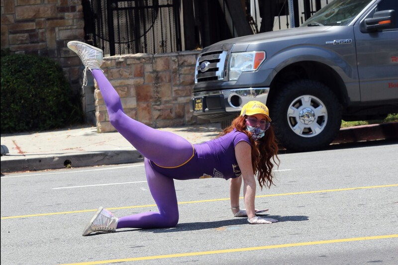 aerobics girl Phoebe Price in purple leotard & pantyhose