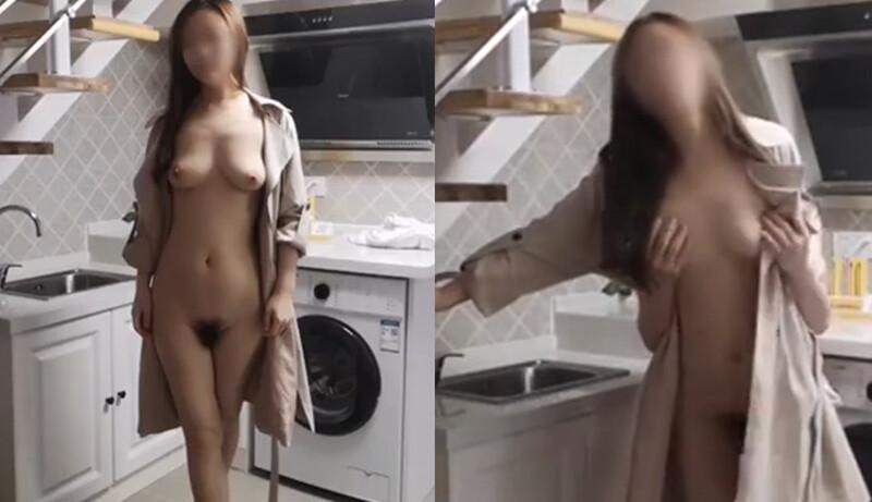 性感身材女神大長腿在鏡子前幹的這一招讓她接近高潮