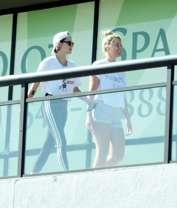 pretty chick Kristen Stewart in sexy adidas leggings