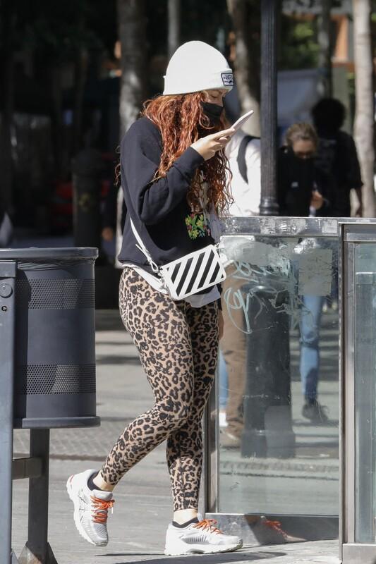 beautiful famale Shakira in sexy leopard print leggings
