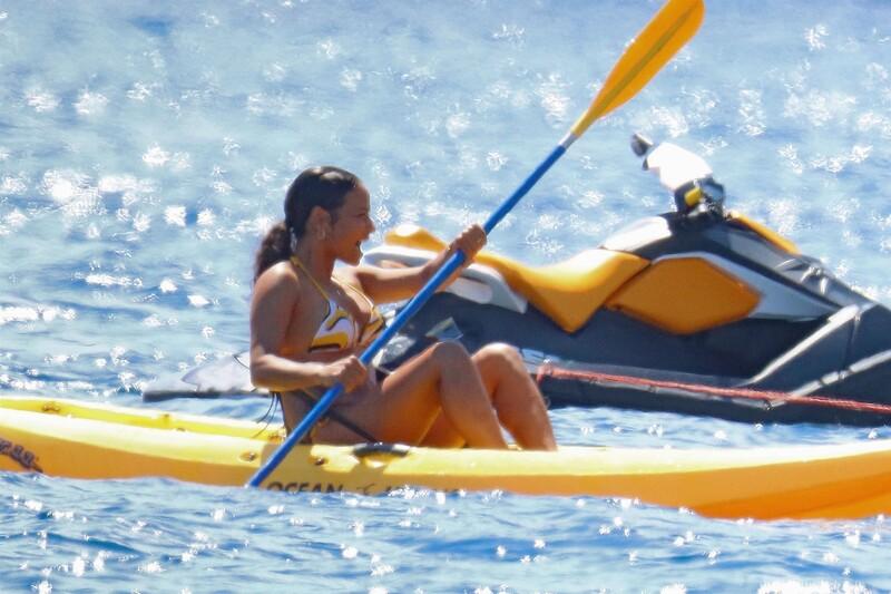 kayak girl Christina Milian in sexy wet bikini