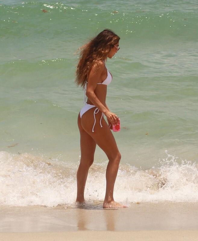 awesome babe Chantel Jeffries in white bikini