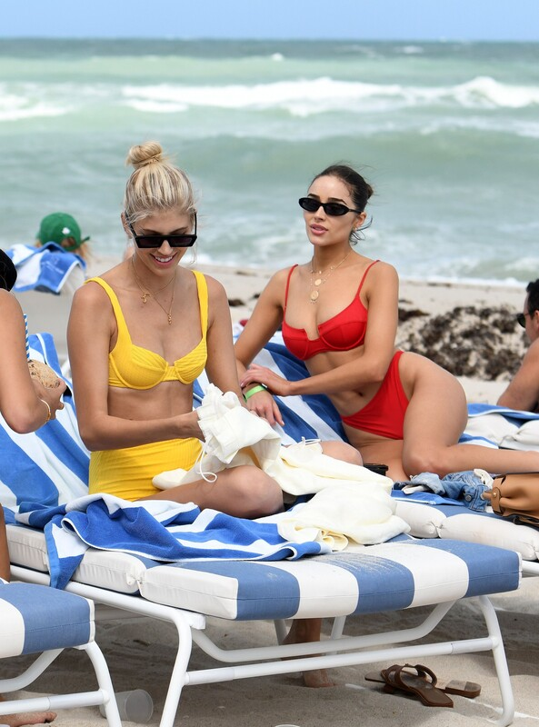 gorgeous babe Olivia Culpo in red bikini