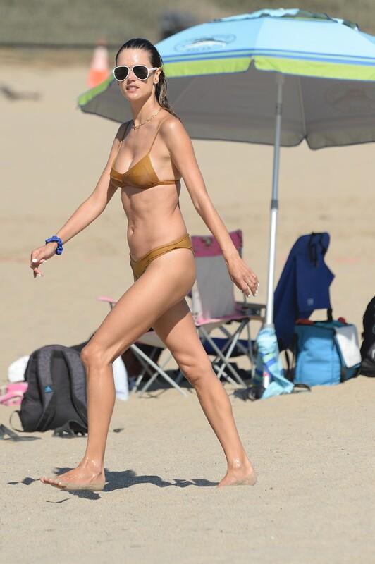 sweet milf Alessandra Ambrosio in wet bikini & gym shorts