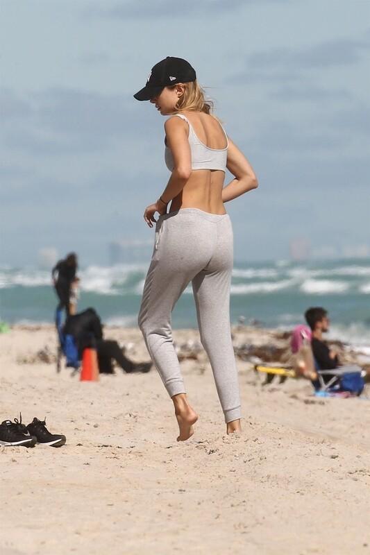 blonde hottie Kimberley Garner beach yoga photos