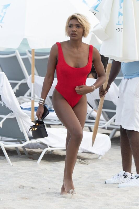 ebony hottie Elisa Johnson in red swimsuit