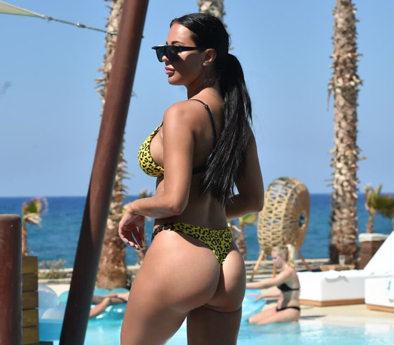 gorgeous babe Yazmin Oukhellou in leopard print bikini