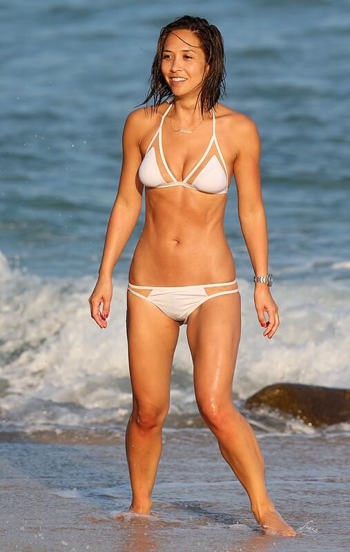 adorable babe Myleene Klass in white bikini