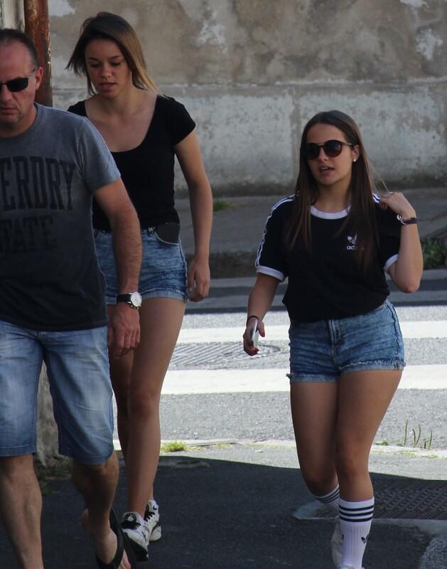 college teens in denim jeans