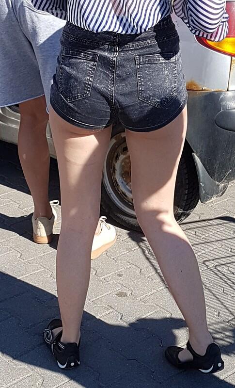cute coed ass in denim shorts