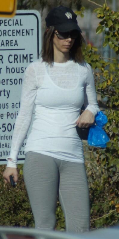 gorgeous milf in grey leggings