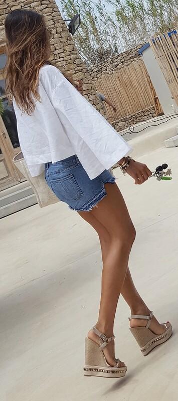 leggy babe in denim shorts & high platform wedges