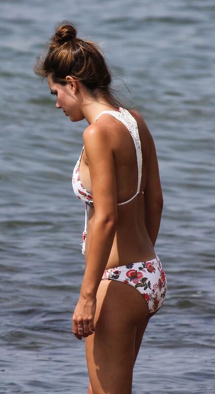 gorgeous college lady in floral print bikini